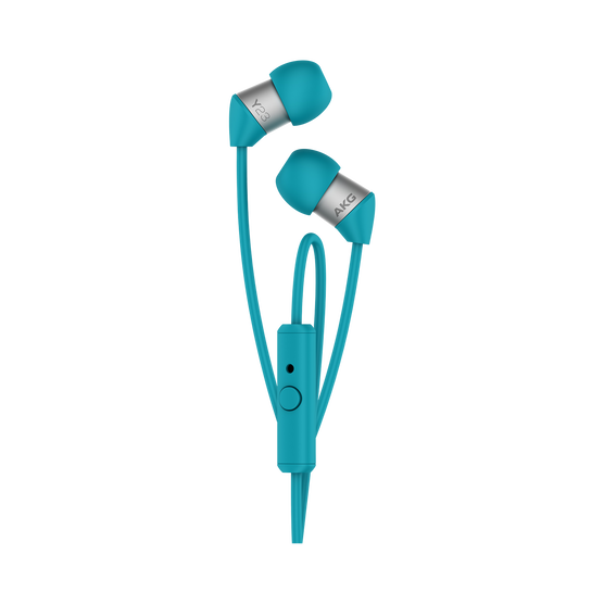 Y23U - Teal - The smallest in-ear headphones with universal remote and microphone - Hero